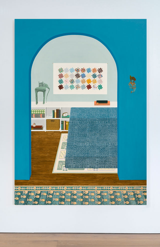 Becky Suss. Blue Apartment, 2016. Oil on canvas, 84 x 60 x 1 3/8 in. Courtesy Jack Shainman Gallery.
