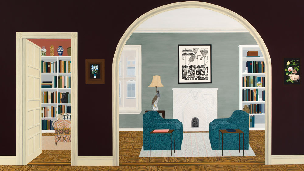 In her exhibition Homemaker at the Jack Shainman Gallery in New York, Philadelphia-based artist Becky Suss presents a group of paintings that reflect on interiors that include objects of personal significance