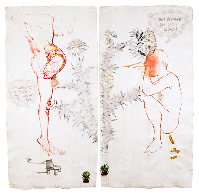 Mithu Sen. Black Candy (iforgotmypenisathome), 2009/2010. You Owe Me! Mixed media on handmade paper, diptych, 84 x 8 in. 2009.