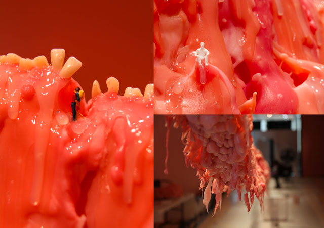 Mithu Sen. Border Unseen, 2014. Installation view, Eli and Edythe Broad Art Museum, USA. False teeth and dental polymer sculpture suspended from the ceiling to the gallery floor, 84 feet. Courtesy Eli and Edythe Broad Art Museum, USA.