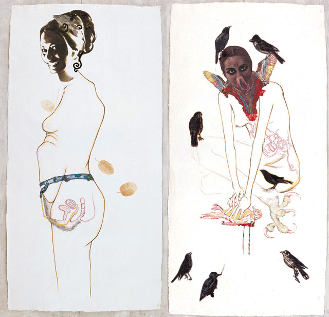 Mithu Sen. 1. Perhaps u 1; 2. Mercy Killing 1, 2007. Half Full Series. Mixed media drawing on handmade paper, 84 x 42 in (each).