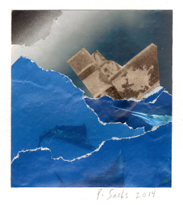 Pat Sachs. The Perfect Storm, 2014. Collage, 82 x 76 mm (3¼ x 3 in).