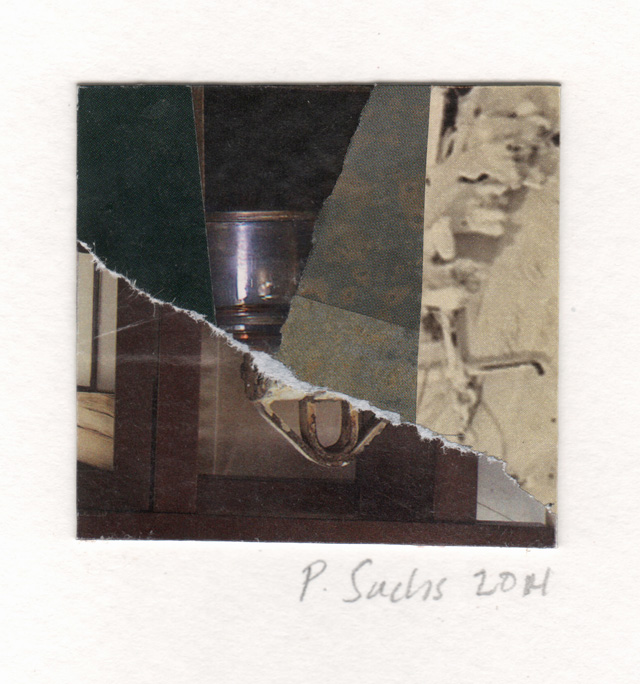 Pat Sachs. Summer Home in Collageville, 2014. Collage, 73 x 51 mm (2⅞ x 2 in).