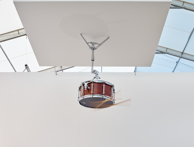 Anri Sala. Moth in B-flat, 2015. Altered snare drum, drumsticks, altered snare stand, loudspeaker parts, and mono sound, 29 1/2 x 22 x 16 1/8 in (75 x 56 x 41 cm); 7:18 min. © Anri Sala. Courtesy Marian Goodman Gallery.
