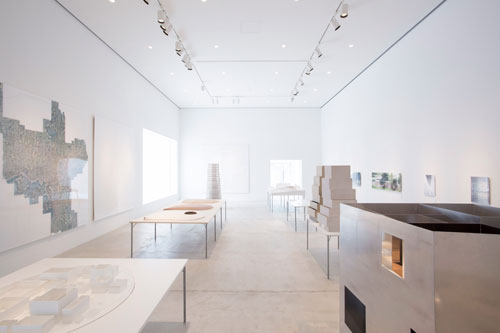 Towada Art Centre, Aomori, Japan, SANAA exhibition view: architectural models, drawings and video projections.