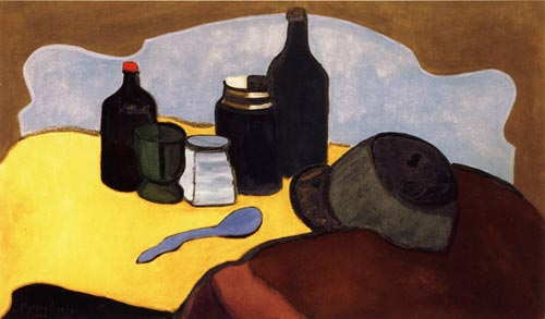 Milton Avery. <em>Still Life with Bottles</em> 1944, oil on canvas, 26 x 44'.