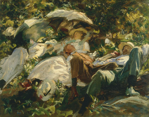 Group with Parasols by John Singer Sargent, c1904-5. Copyright: Private collection.
