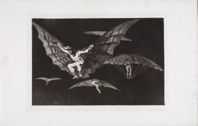 Francisco de Goya. Disparate volante (Flying Folly), 1815-1824. Series: Los Proverbios (The Follies). Etching and Aquatint. © Museum der Moderne Salzburg. Photograph: Rainer Iglar.