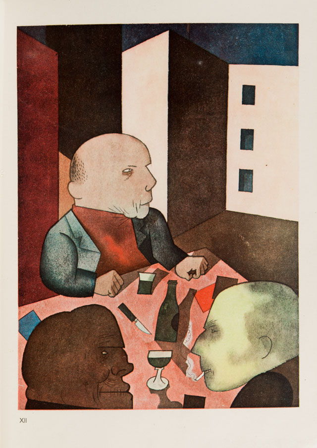 George Grosz. Der Mensch ist gut (People are basically Good), 1921. From: Ecce Homo, publ. 1923. Coloured offset print. © Museum der Moderne Salzburg. © Bildrecht Wien. Photograph: Hubert Auer.