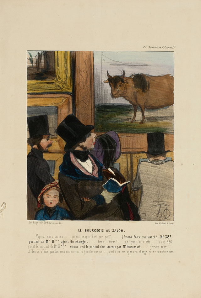 Honoré Daumier. Le bourgeois au salon (The Bourgeois at the Salon), 1842. From: La Caricature, 17th April 1842. Colour Lithograph, 36.2 x 25.3 cm. © Museum der Moderne Salzburg. Photograph: Bettina Salomon.