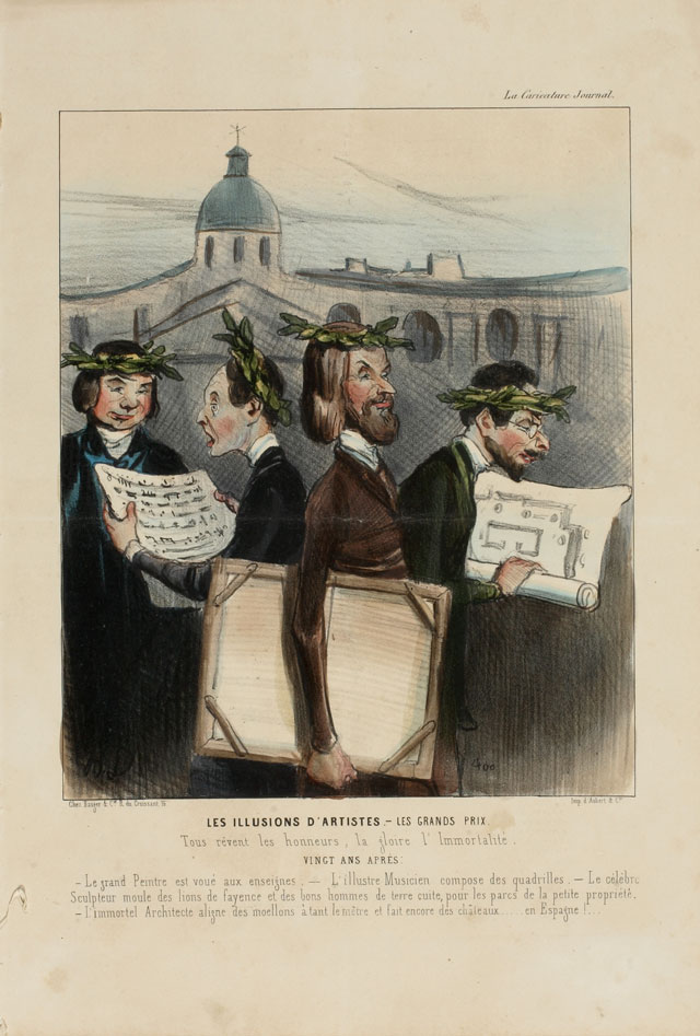 Honoré Daumier. Les illusions d'artistes - Les grands prix (The Illusions of Artists – Grand Prizes), 1842. From: La Caricature, 17th July 1842. Colour Lithograph. © Museum der Moderne Salzburg. Photograph: Bettina Salomon.