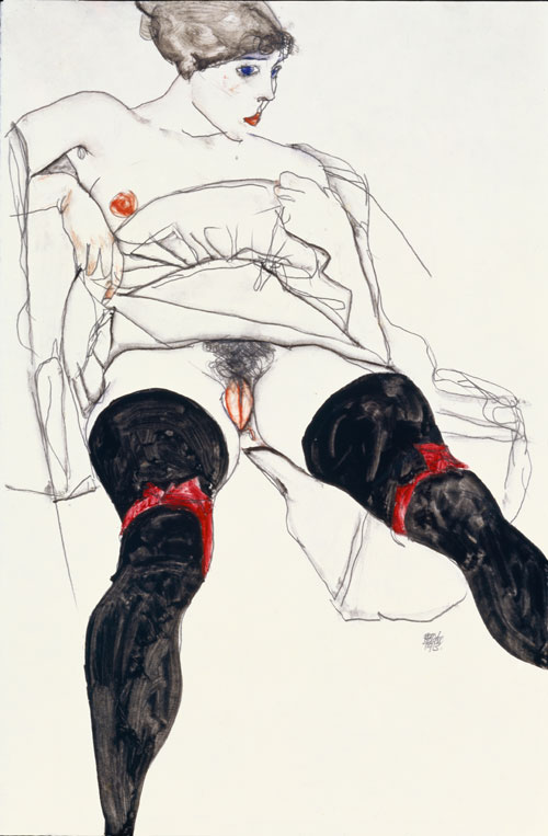 Egon Schiele. Woman with Black Stockings, 1913. Gouache, watercolour and pencil, 48.3 x 31.8 cm. Private collection, courtesy of Richard Nagy, London.