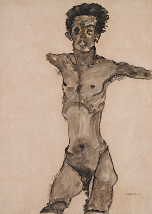 Egon Schiele. Nude Self-Portrait in Gray with Open Mouth, 1910. Black chalk and gouache, 44.8 x 32.1 cm. The Leopold Museum, Vienna .