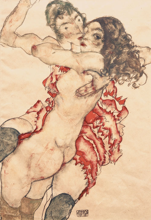 Egon Schiele. Two Girls Embracing (Friends), 1915. Gouache, watercolour and pencil, 48 x 32.7 cm. Museum of Fine Arts, Budapest.