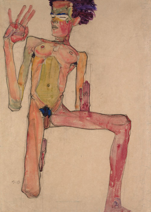 Egon Schiele. Kneeling Nude with Raised Hands (Self-Portrait), 1910. Black chalk and gouache on paper, 63 x 45 cm. The Leopold Museum, Vienna.
