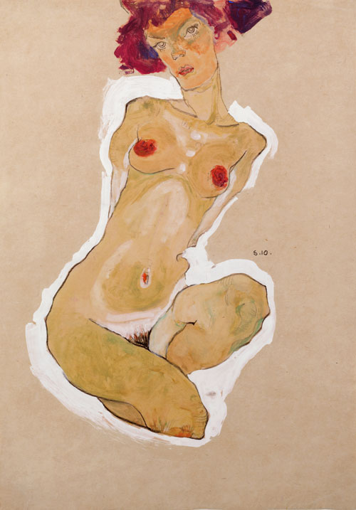 Egon Schiele. Squatting Female Nude, 1910. Black chalk, gouache and opaque white, 44.7 x 31 cm. The Leopold Museum, Vienna.