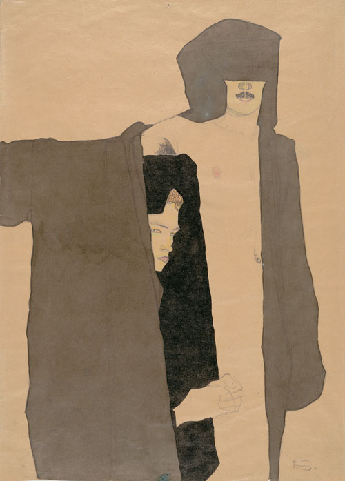 Egon Schiele. <em>Couple</em>, 1909. Graphite, ink, crayon, and wash on paper, 44.5 x 31 cm. Carnegie Museum of Art, Pittsburgh, Speyer Purchase Fund for Drawings. © Carnegie Museum of Art, Pittsburgh.