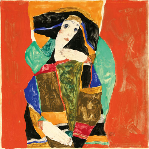 Egon Schiele. <em>Portrait of a Woman (Wally Neuzil)</em>, 1912. Gouache and pencil on paper, 24.8 x 24.8 cm. Private collection.