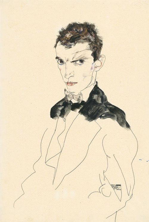 Egon Schiele. <em>Self-Portrait</em>, 1912. Gouache and pencil on paper, 46.5 x 31.5 cm. Private collection, courtesy Neue Galerie New York. © Private collection, courtesy Neue Galerie New York.