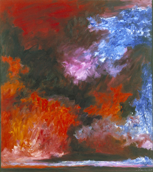 Jon Schueler. <em>Snow Cloud and Blue Sky</em>, Mallaig Vaig 1958. 80 x 71 inches (o/c 58-13). (C) Jon Schueler Estate.