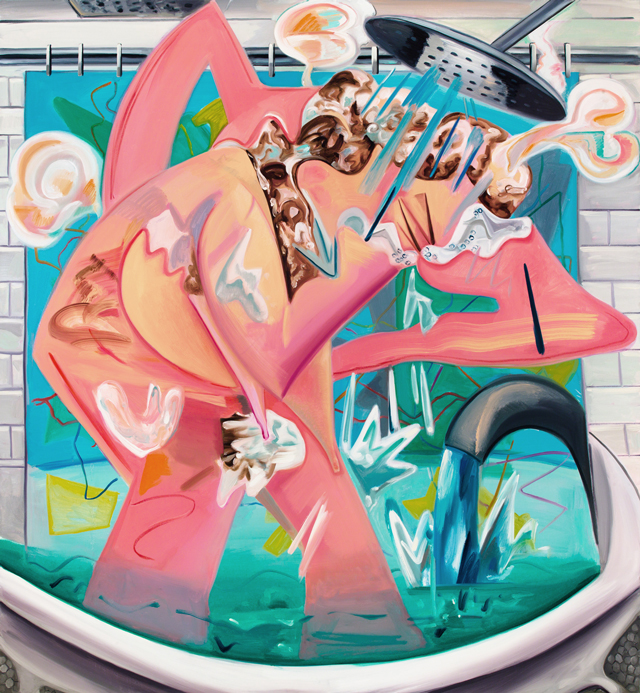 Dana Schutz. Slow Motion Shower, 2015. Oil on canvas, 78 x 72 in (198.1 x 182.9 cm).