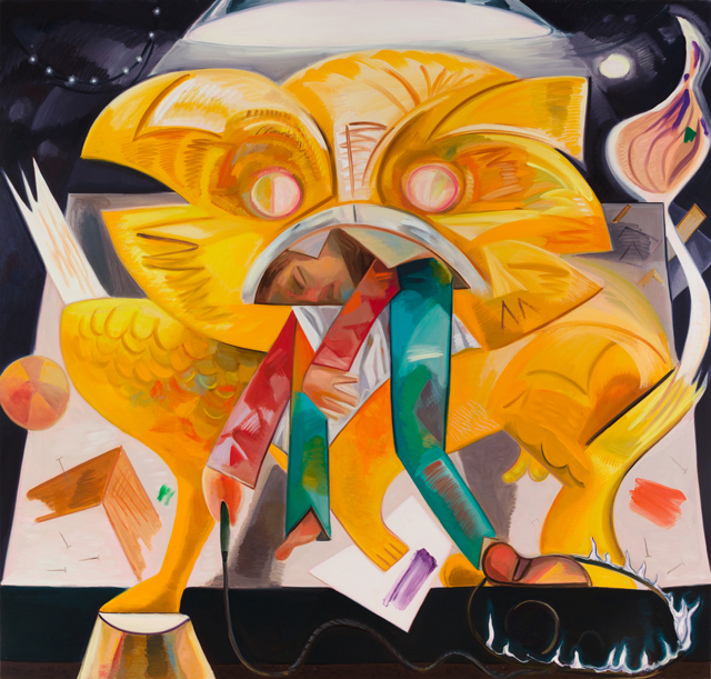 Dana Schutz. Lion Eating Its Tamer, 2015. Oil on canvas, 83.5 x 89 in (212.1 x 226.1 cm).