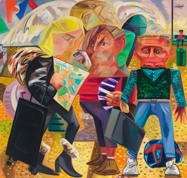 Dana Schutz. Swiss Family Traveling, 2015. Oil on canvas, 84 x 88 in (213.4 x 223.5 cm).