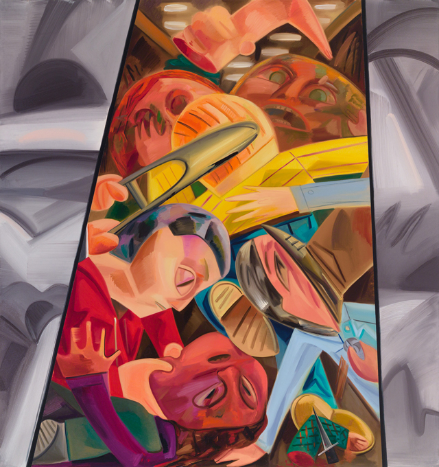 Dana Schutz. Fight in an Elevator 2, 2015. Oil on canvas, 96 x 90 in (243.8 x 228.6 cm).