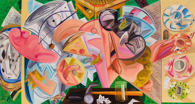 Dana Schutz. Shaking Out the Bed, 2015. Oil on canvas, 114 x 213.75 in (289.6 x 542.9 cm).