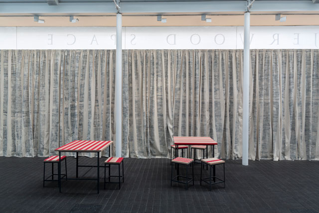 Katie Schwab, Lines, wood-block printed cotton dustsheets; Stripes, steamed beech, steel, wood