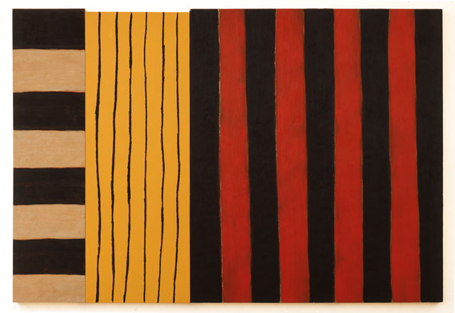Sean Scully. By Night and By Day, 1983. Oil on canvas, 97 x 141 1/4 in (247.7 x 360.7 cm). Image courtesy Mnuchin Gallery, New York. © Sean Scully. Photograph: Rob Carter.