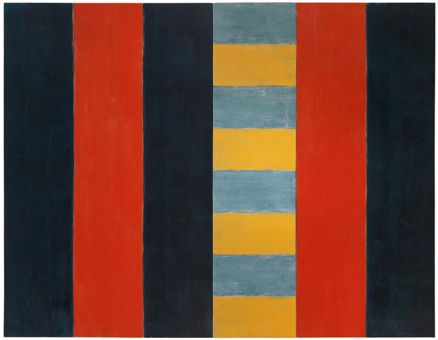 Sean Scully. Stranger, 1987. Oil on linen, 96 x 124 in (243.8 x 315 cm). Image courtesy Mnuchin Gallery, New York. © Sean Scully. Photograph: Foto Gasull.