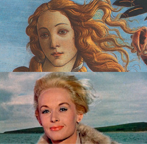 Der zweite Blick/A Second Look. Top: Botticelli's The Birth of Venus, 1486 (detail). Below: Film still from The Birds (1963) by Alfred Hitchcock with Melanie Daniels (Tippi Hedren).