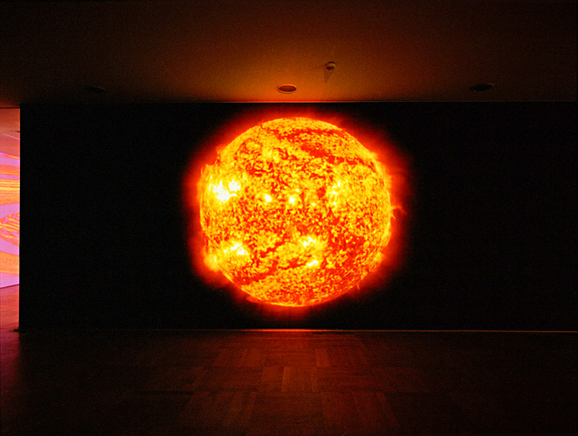 Katharina Sieverding. Die Sonne Um Mitternacht Schauen (Red), 2011-12, Sdo/Nasa. Digital film projection, 