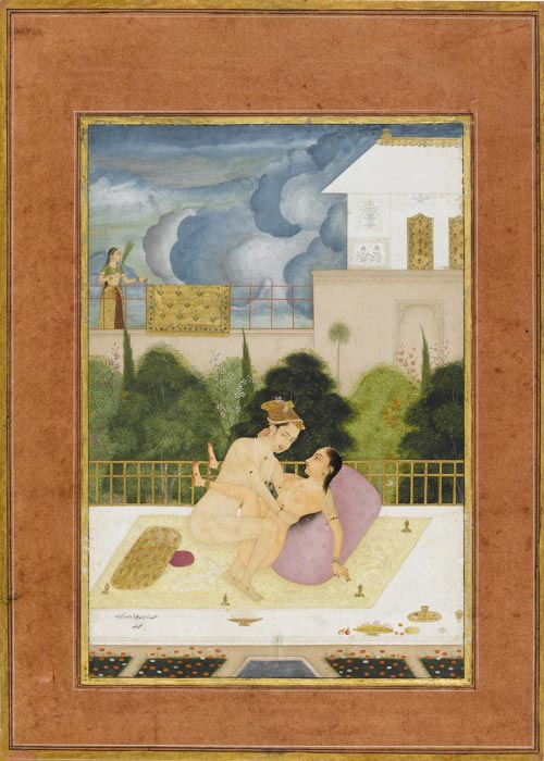 Unknown Artist, <em>The private pleasure of Prince Mohammad Agar son of Aurangzeb by Rashid</em>, c. 1678 to 1698. Miniature painting, body colour including white, pen and ink with gold on paper. Fitzwilliam Museum, Cambridge © Fitzwilliam Museum, University of Cambridge