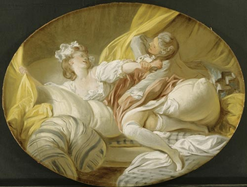 Jean-Honoré Fragonard (1732-1806), <em>The Beautiful Servant (Pointless Resistance)</em>, Undated. Oil on canvas, oval. Purchased 1958 with contribution from Nationalmusei Vänner and anonymous Donor The National Museum of Fine Arts, Stockholm Photo © The National Museum of Fine Arts, Stockholm
