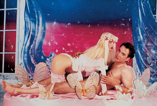 Jeff Koons, <em>Ilona on Top (Rosa background)</em>, 1990. Oil inks on canvas. Private collection, courtesy Galerie Max Hetzler, Berlin &copy; Jeff Koons