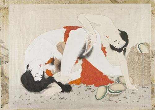 Unknown Artist, <em>Woman and man with oysters</em>. Album of Japanese watercolours. Victoria & Albert Museum, London, Far East Department © V&A Images/Victoria and Albert Museum, London