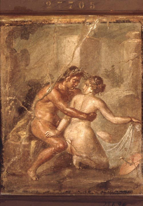 Unknown Artist, <em>Satyr embracing a Nymph</em>, Pompeii. Roman: c. 45-79 A.D. Wall painting. National Museum of Archaeology, Naples. Photo &copy; Soprintendenza per i beni Archeologici delle Province di Napoli e Caserta