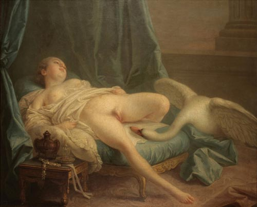 François Boucher (attributed), <em>Leda and the Swan</em>, c. 1740. Oil on canvas. Private collection © Michel Motron<br />