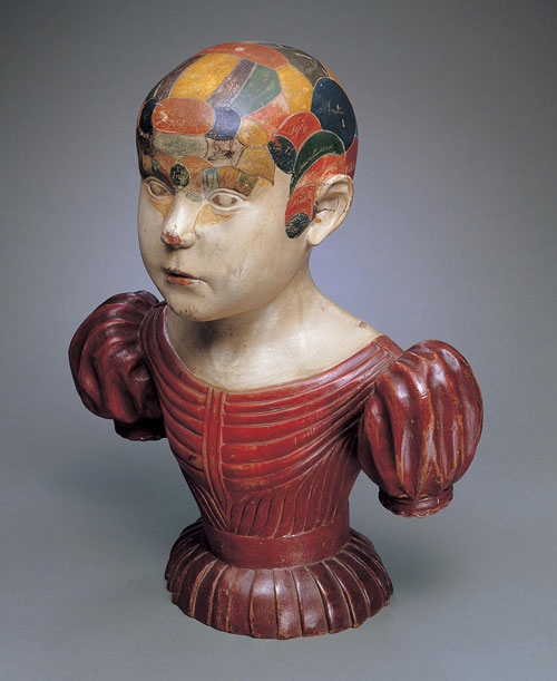 Phrenological Head, c1850. Asa Ames (1823–1851), Evans, New York. Paint on wood, 16 3/8 x 13 x 7 1/8 in. Collection American Folk Art Museum, New York. Bequest of Jeanette Virgin. Photograph: John Parnell, New York.