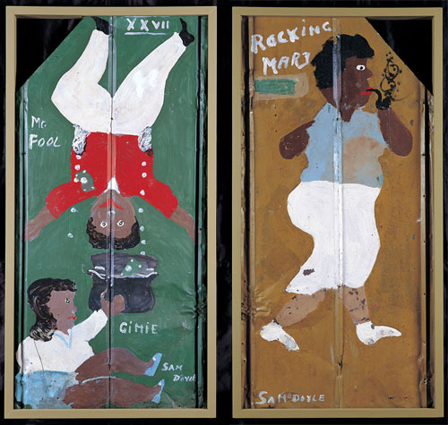 Rocking Mary/Mr. Fool, c1983 (double-sided). Sam Doyle (1906–1985), St. Helena Island, South Carolina. Enamel house paint on corrugated roofing tin, 52 x 26 x 1/2 in. Collection American Folk Art Museum, New York. Gift of Elizabeth Ross Johnson. Photograph: John Parnell, New York.