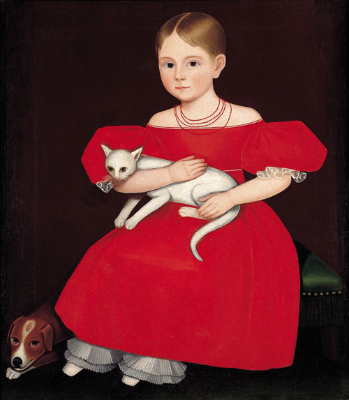 Girl in Red Dress with Cat and Dog. Ammi Phillips (1788–1865), Vicinity of Amenia, New York, 1830–1835. Oil on canvas, 30 x 25 in. Collection American Folk Art Museum, New York. Gift of the Siegman Trust, Ralph Esmerian, trustee. Photograph: John Parnell, New York.