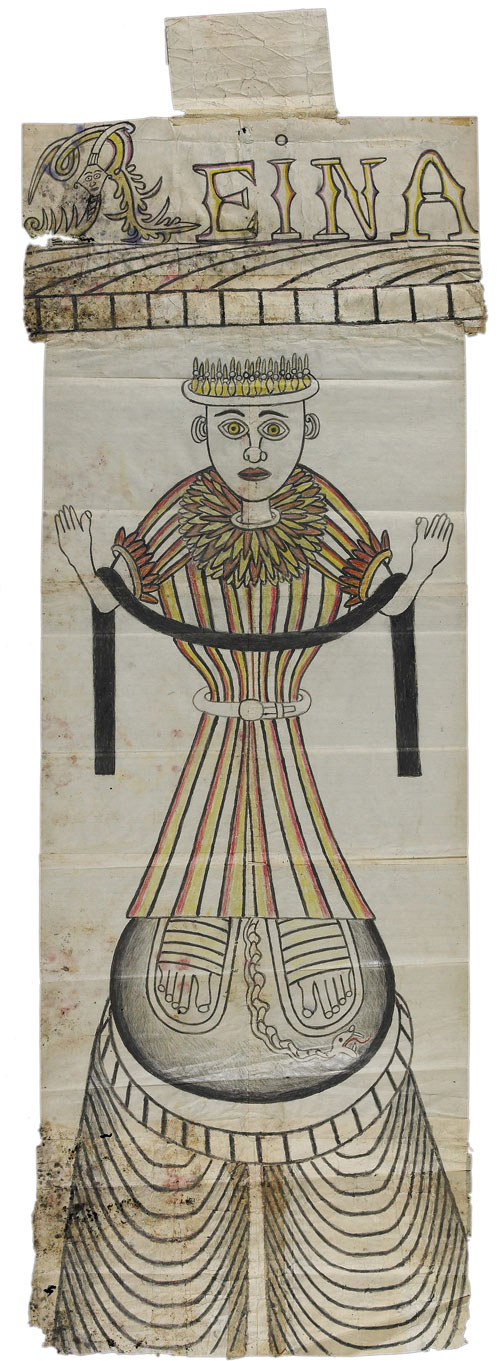 Reina. Martín Ramírez (1895–1963), Auburn, California, c1960–1963. Paint, crayon, pencil, and collage on pieced paper, 48 x 16 1/2 in. Collection American Folk Art Museum, New York. Gift of the Family of Dr. Max Dunievitz and the Estate of Martin Ramirez. © Estate of Martín Ramírez. Photograph: Ellen McDermott.