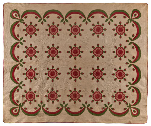 Whig Rose and Swag Border Quilt. Unidentified slaves; made for Mrs. Marmaduke Beckwith Morton (1811–1880). Morton Plantation