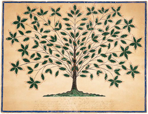 Gift Drawing: The Tree of Light or Blazing Tree. Hannah Cohoon (1788–1864), Hancock, Massachusetts, 1845. Ink, pencil, and gouache on paper, 16 x 20 7/8 in. Collection American Folk Art Museum, New York. Gift of Ralph Esmerian. Photograph courtesy Sotheby's, New York.
