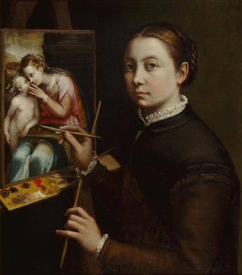 Sofonisba Anguissola. <em>Self-portrait at the Easel Painting a Devotional Panel </em>1556. Copyright: © Muzeum-Zamek, Lancut, Poland.