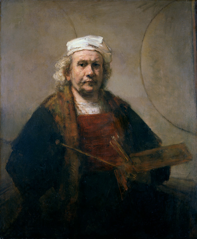 Rembrandt van Rijn. Self-Portrait with Two Circles, c1665-69. Oil on canvas, 114.3 cm × 94 cm. Courtesy Kenwood House, Iveagh Bequest/English Heritage.