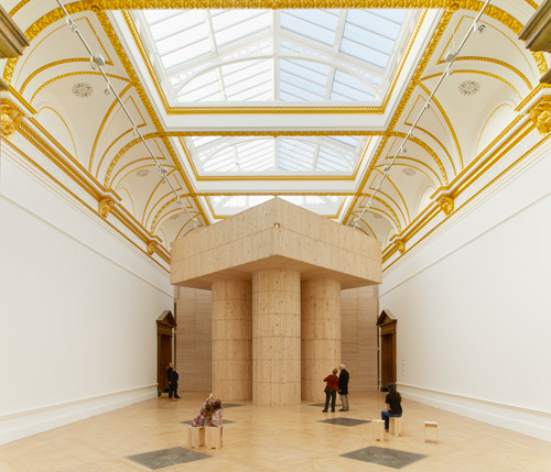 Installation (Blue Pavilion) by Pezo von Ellrichshausen. Photograph © Royal Academy of Arts, London, 2014. Photograph: James Harris.