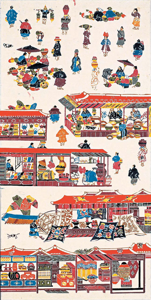 Serizawa Keisuke (1895&ndash;1984). <em>The Great Market in Naha City, Okinawa</em> 1940. Hanging scroll, stencil-dyed paper, 61 1/4 x 27 3/4 in. Tohoku Fukushi University  Serizawa Keisuke Art and Craft Museum.